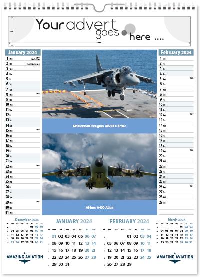Amazing Aviation Single Wired Memo Calendar 2018